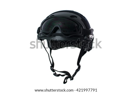 Tactical helmet with safety goggles Di-cut On White Background