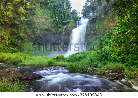 Tad - E - Too  the beautiful  forest waterfall in the southern  of Laos. - stock photo