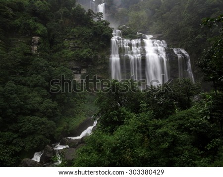 Tad kamud waterfall in the bolaven plateau forest. Laos