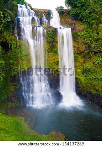 Tad Yueang Waterfall in southern Laos - stock photo