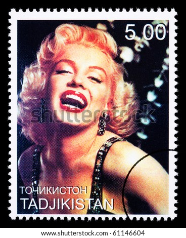 TADJIKISTAN - CIRCA 2000: A postage stamp printed in Tadjikistan showing Marilyn Monroe, circa 2000 - stock photo