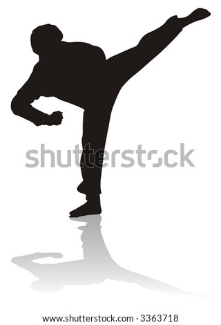 taekwondo silhouette - stock photo