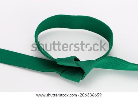 taekwondo uniform and belt - stock photo