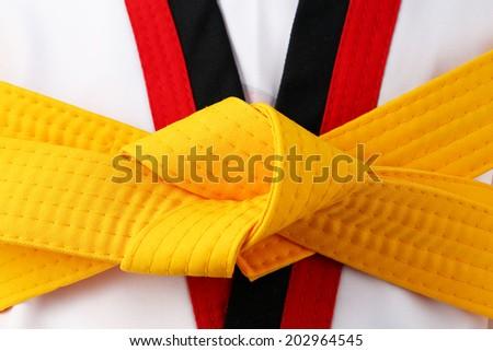 taekwondo uniform and white belt - stock photo