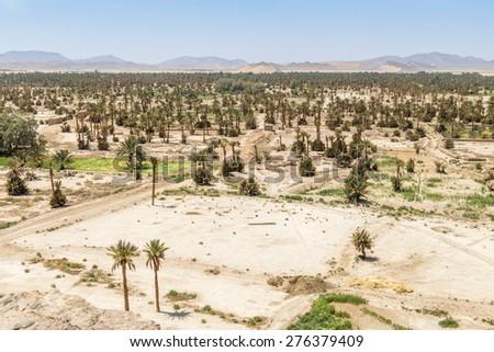 Tafilalt oasis in Morocco - view from Tinrheras ksar  - stock photo