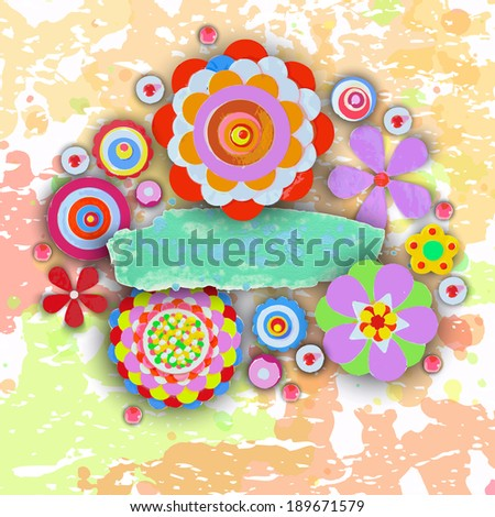 Tag and label, cheer up background. Grunge paint banner with brush stroke effect. 3d shadows. Flowers made of acrylic, Watercolor, handmade, from original canvas art. Place for your text.  - stock photo