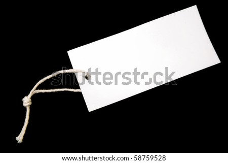 Tag and string on black background - stock photo