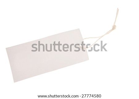 Tag and string on white background