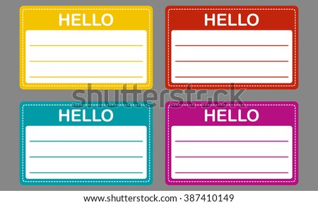 Tag badge holder or name introduction label. Colorful name tag set. - stock photo