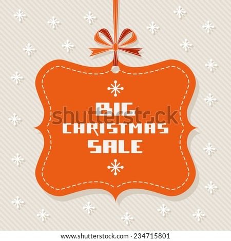 Tag - Christmas sale. Vintage background with ribbon and bow. Decorative illustration for print, web - stock photo