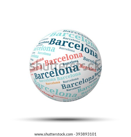 Tag cloud sphere Barcelona, isolated on white background