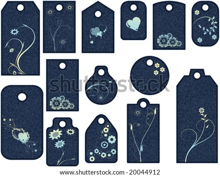 Tag Collection with flowers and hearts