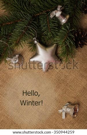 Tag Merry Christmas, postcard, mandarins, fir-cones, Christmas decorations and fur-tree branch - stock photo