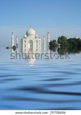 Tag Mirage,  the stunning  Taj Mahal shown here with reflection from the sandy banks of the River Jumna - stock photo