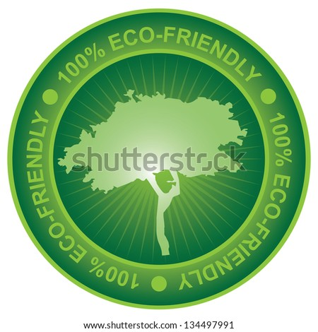 Tag or Badge For Eco-Friendly or Save Energy Sign Present By Green Tree Icon Isolated on White Background - stock photo