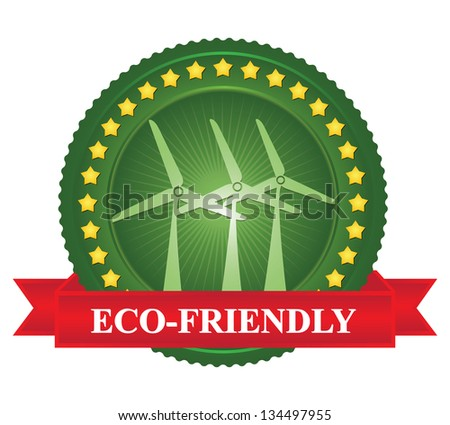 Tag or Badge For Eco-Friendly or Save Energy Sign Present By Green Wind Turbine Icon and Yellow Star Around With Red Eco-Friendly Ribbon Isolated on White Background - stock photo
