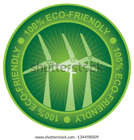 Tag or Badge For Eco-Friendly or Save Energy Sign Present By Green Wind Turbine Icon Isolated on White Background - stock photo