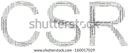 Tag or word cloud corporate social responsibility related in shape of CSR - stock photo