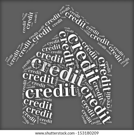 Tag or word cloud credit related in shape of house - stock photo