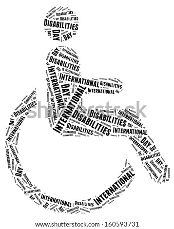 Tag or word cloud disability related in shape of human on wheelchair - stock photo
