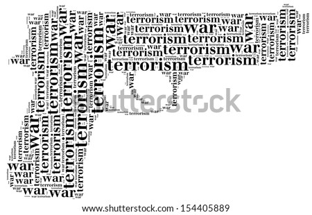 Tag or word cloud war or terrorism related in shape of pistol or gun - stock photo