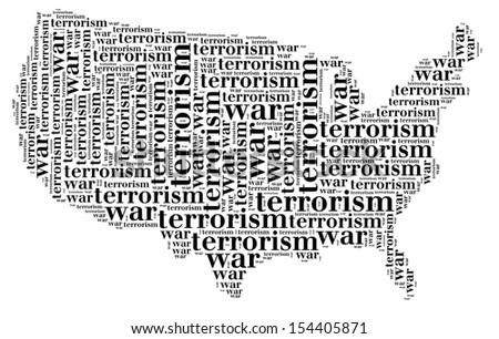 Tag or word cloud war or terrorism related in shape of USA silhouette