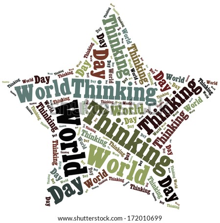 Tag or word cloud World Thinking Day related in shape of star - stock photo