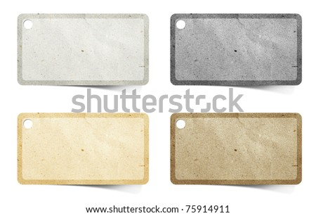 tag recycled paper craft  stick on white background - stock photo