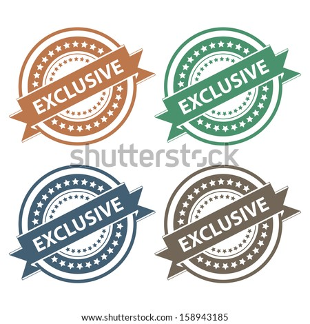 Tag, Sticker, Label or Badge For Product Certification or Product Verification Present By Colorful Exclusive Ribbon on Colorful Icon Isolated on White Background  - stock photo