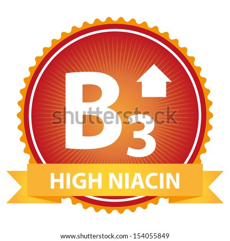 Tag, Sticker or Badge For Healthy, Weight Loss, Diet or Fitness Product Present By Orange High Niacin Ribbon on Red Badge With High Vitamin B3 Sign Isolated on White Background  - stock photo