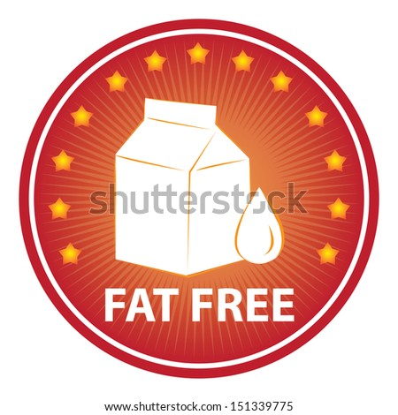 Tag, Sticker or Badge For Healthy, Weight Loss, Diet or Fitness Product Present By Red Badge With Fat Free Text, Milk Box Sign and Little Star Around Isolated on White Background