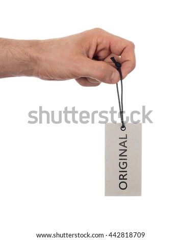 Tag tied with string, price tag - Original (isolated on white) - stock photo