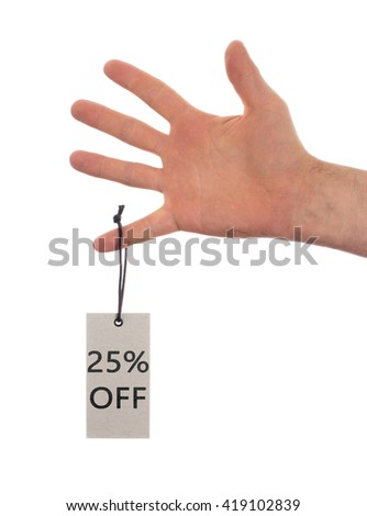 Tag tied with string, price tag - 25 percent off (isolated on white) - stock photo