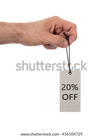Tag tied with string, price tag - 20 percent off (isolated on white) - stock photo