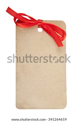 tag with a bow on a white background - stock photo