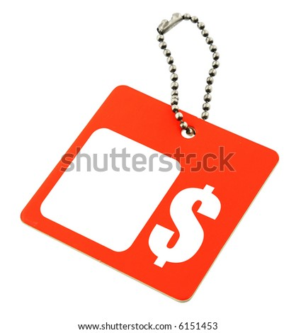 tag with dollar symbol and copy space por price, background is pure white - stock photo