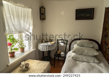 TAGANROG - FEBRUARY  01, 2015: Shows the interior of the house, the birthplace of the great Russian writer Anton Chekhov.  A children's room. House-Museum of the writer in Taganrog, Russia - stock photo