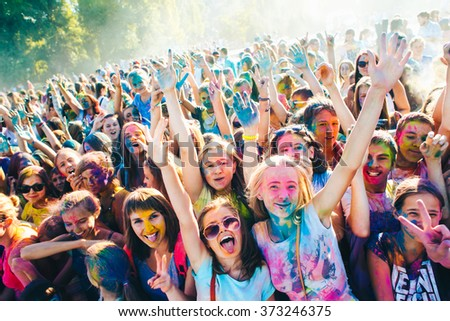 TAGANROG, RUSSIAN FEDERATION - AUGUST 22, 2015. Roots of this festival are in India, where it called Holi Festival. Now russian people celebrate it too.
