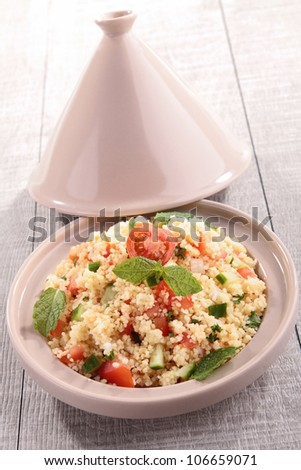 tagine, couscous salad with vegetables - stock photo