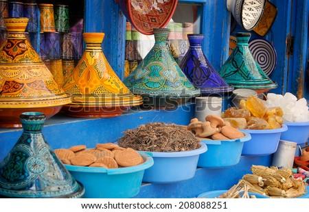 tagine plates colorful - store souk Morocco - stock photo