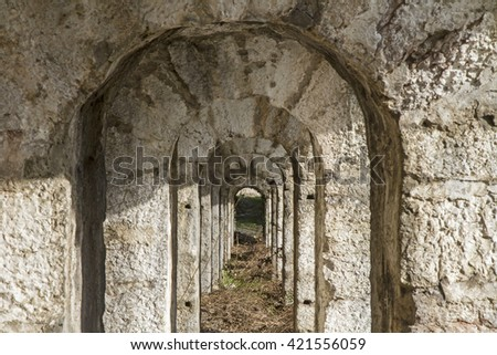Tagliata della scala - old fortifications from the First World War - stock photo