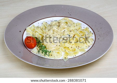 Tagliatelle with few kind of cheeses and thyme