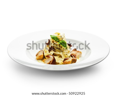 Tagliatelle with Mushroom, Cream Sauce, Truffle and Basil Leaf - stock ...