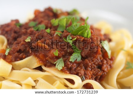 tagliatelle with ragu bolognese sauce - stock photo