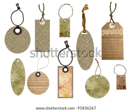 Tags collection isolated on a white background - stock photo