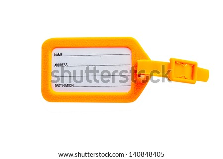 tags for luggage on white background with clipping path - stock photo