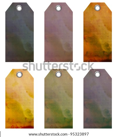 Tags with metal eyelets - stock photo