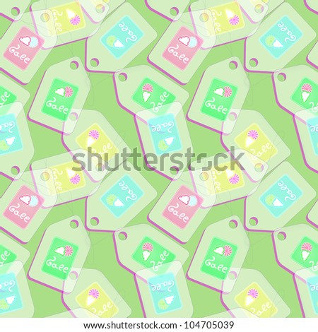 Tags with spring discounts on green background