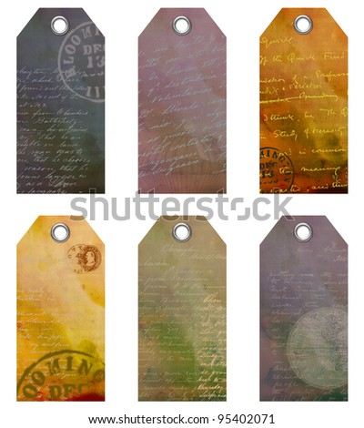 Tags with text and imagery for scrap book - stock photo