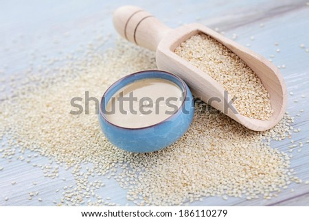 tahini made from sesame seeds - food and drink - stock photo